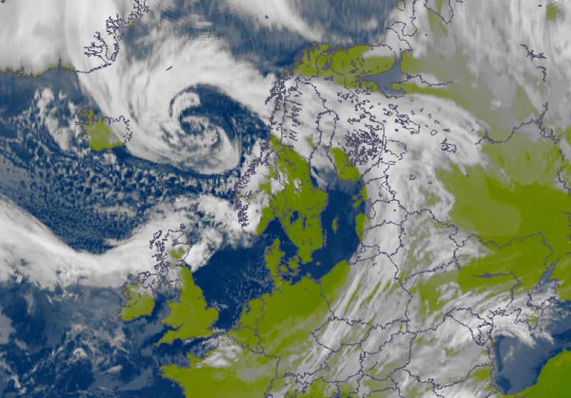 Śnieźny niż Peter nad Morzem Norwerskim (Eumetsat, Meteorologisk Institutt)