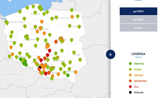 Stężenie pyłu PM10 o godzinie 20 (tvnmeteo.pl za GIOŚ)