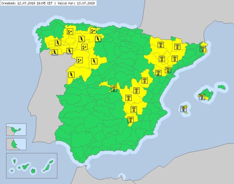 Ostrzeżenia meteorologiczne dla Hiszpanii (meteoalarm.eu)