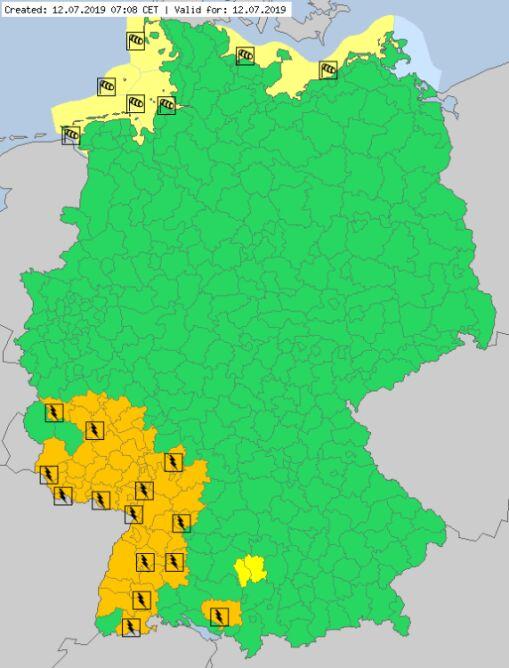 Ostrzeżenia meteorologiczne dla Niemiec na piątek (meteoalarm.eu)
