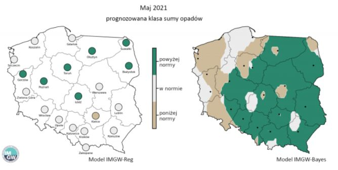 Prognozowana klasa miesięcznej sumy opadów w maju 2021 r. według modelu IMGW-Reg i IMGW-Bayes (źródło: IMGW)