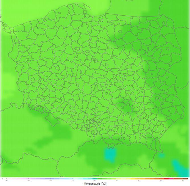 Średnia dobowa temperatura zimą w latach 2081-2090. Scenariusz RCP8.5 (klimada2.ios.gov.pl)