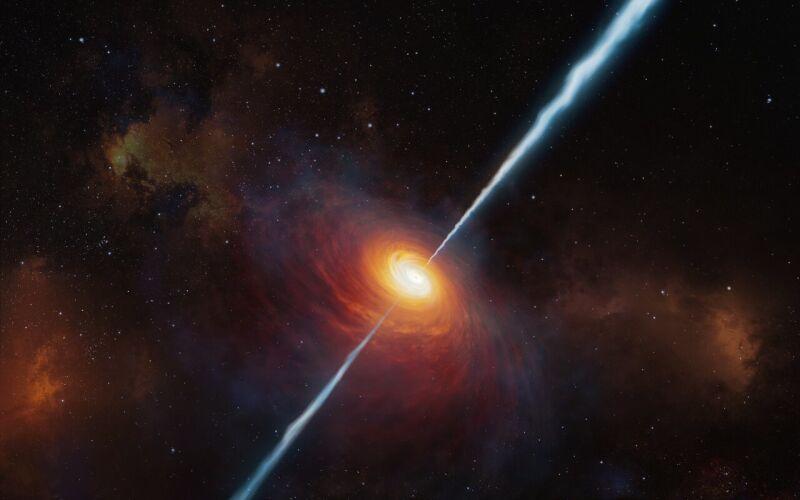Wizja artystyczna pokazuje jak mogą wyglądać odległy kwazar P172+18 i jego radiowe dżety (ESO/M. Kornmesser)